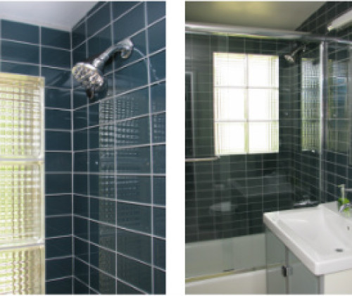 Glass Tile Hall Bathroom