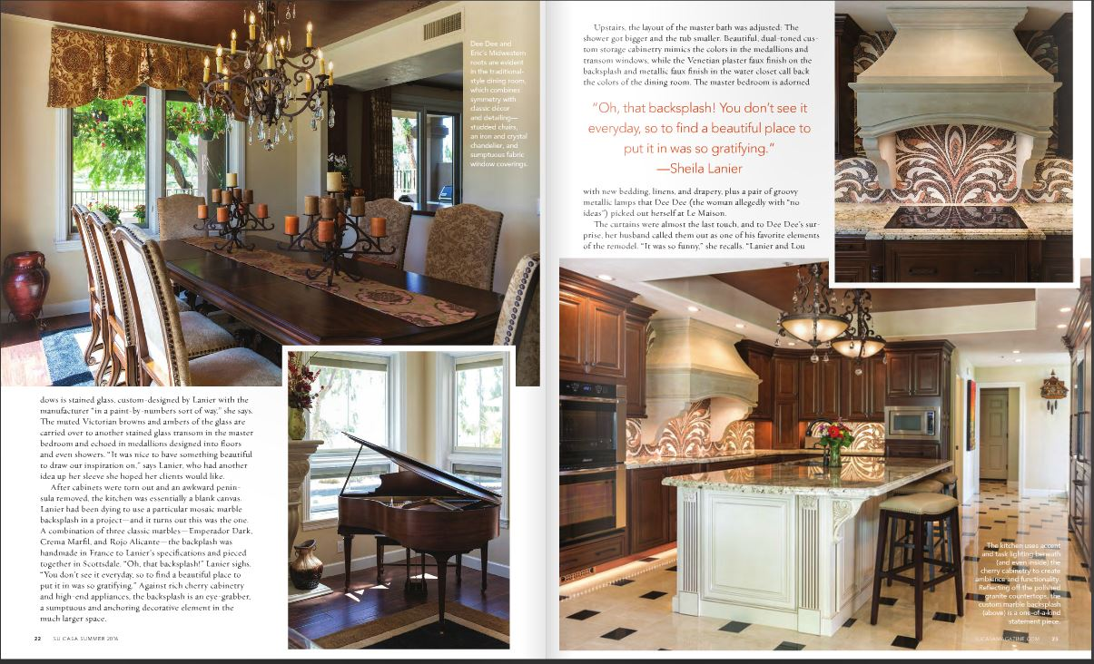 SuCasa Magazine feature editiorial of Tri-Lite Builders Gainey Ranch remodel in Scottsdale Arizona