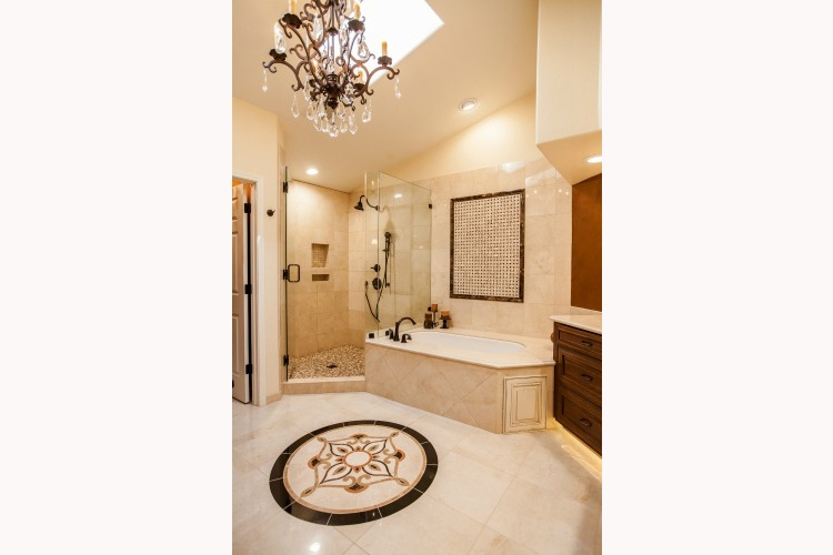Phoenix Bathroom Remodeling Contractor. Luxurious master bathroom remodel with a large tile shower and soaking tub.