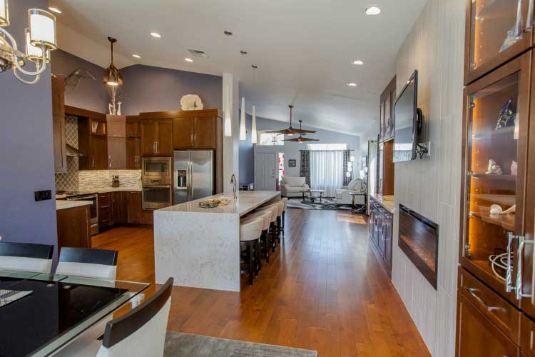 Kitchen Remodeling Contractor in Paradise Valley featuring a large waterfall island.