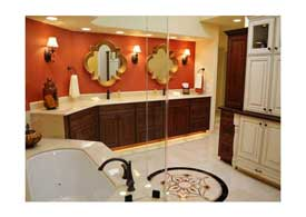 Gilbert AZ master bathroom remodel with dark wood cabinets and light granite counters.