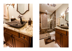Gilbert AZ guest bathroom remodel with dark wood cabinets and light granite counters.