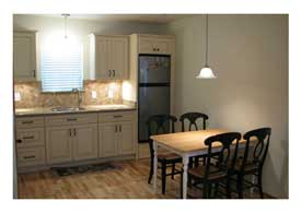 Chandler AZ mother-in-law home addition kitchenette with seating.