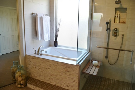 Gilbert, AZ Bathroom Remodeling Contractor- Accessible master bathroom remodel with a large shower and soaking tub.
